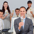 Successful business co-workers toasting with Champagne — Stock Photo #10286058
