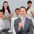 Successful business co-workers toasting with Champagne — Stock Photo