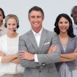 Multi-ethnic team working in a call center — Stock Photo #10286414