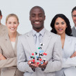 Business team holding a molecule model. Scince and business conc — Stock Photo