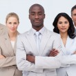 Confident Afro-American businessman leading his team — Stock Photo