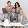 Architectural business team working in the office — Stock Photo