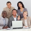 Multi-ethnic business team working in the office — Stock Photo