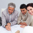 Beautiful female architect studying plans with her colleagues - Stock Photo