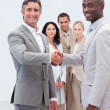 Smiling businessmen shaking hands - Stock Photo