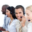 Stock Photo: Ambitious business working in call center