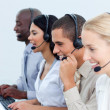 Royalty-Free Stock Photo: Young business working in a call center