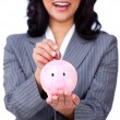 Stock Photo: Focus on piggybank