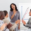 Business clapping at presentation — Stock Photo #10287011