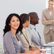 Businesswoman in a meeting smiling — Stock Photo