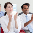Stock Photo: International business clapping at conference