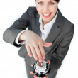 Cheerful businesswoman using a service bell — Stock Photo