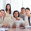 Assertive business partners working at a computer — Stock Photo #10288226