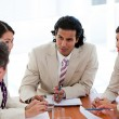 Stock Photo: Concentrated business team having a meeting