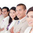Foto Stock: Diverse business team standing in line