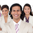 Presentation of a joyful business team — Stock Photo #10288516