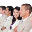 Asian business woman and her team lining up — Stock Photo #10288536