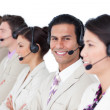 Royalty-Free Stock Photo: Latin customer agent and his team lining up