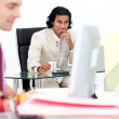 Portrait of two colleagues working in the office — Stock Photo