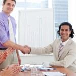 Two businessmen having a handshake — Stock Photo