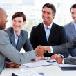 Multi-ethnic business greeting each other — Stock Photo #10288921