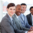 Foto Stock: Multi-ethnic business team in meeting