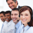 Positive business working in a call center — Stock Photo