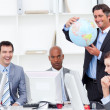 Stock Photo: Meeting of lucky business team about globalization