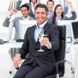 Fortunate manager and his team drinking champagne — Stock Photo