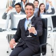 Fortunate manager and his team drinking champagne — Stock Photo #10289177