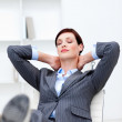 Young Businesswoman sleeping with feet on desk — Stock Photo #10289272