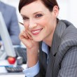 Close-up of an attractive businesswoman at work — Stock Photo