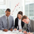 Concentrated business working together — Stock Photo