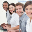Stock Photo: Customer service agents with headset on