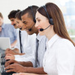 Stock Photo: A diverse business group in a call center