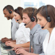 Stock Photo: Concentrated customer service agents working in call center