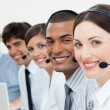 Stock Photo: International customer service agents with headset on