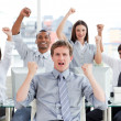 Stock Photo: Enthusiastic business team celebrating success