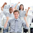 Stock Photo: Ambitious business team celebrating success