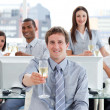 Fortunate business team drinking champagne — Stock Photo #10289949