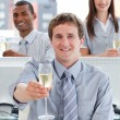 Close-up of successful business team drinking champagne — Stock Photo #10289950