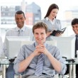 Presentation of ambitious business team at work — Stock Photo