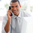 Afro-american businessman on phone - Stock Photo