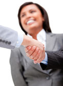 Cheerful businesswoman looking at her partners shaking hands — Stock Photo