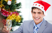 Caucasian businessman celebrating christmas — Stock Photo