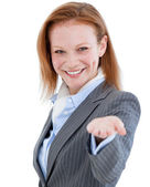 Portrait of a cheerful businesswoman standing — Stock Photo