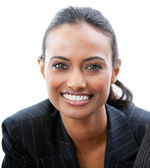 Portrait of a confident businesswoman smiling at the camera — Stock Photo