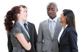 Positive diverse business team interacting — Stock Photo
