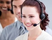 International customer service representatives standing in a lin — Stock Photo