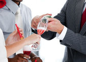 Close- up of two colleague drinking champagne to celebrate chris — Stock Photo